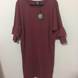 NWT bobeau ruffle sleeve dress - medium